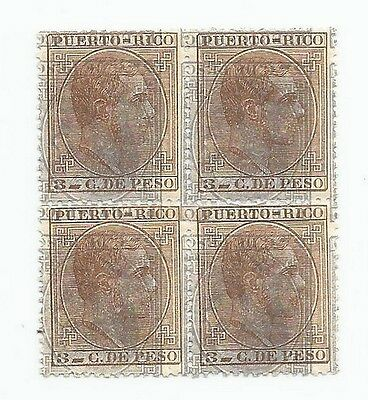 Puerto Rico Porto Rico #66/67 1882 3c & 5c superimposed impressions block of 4