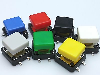 12mm SMD Square Cap Surface Mounting Tactile Push Button Switches - 12x12x7.3mm