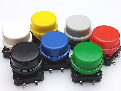 12mm SMD Round Cap Surface Mounting Tactile Push Button Switches - 12x12x7.3mm