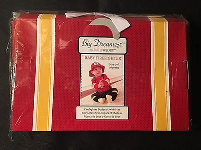 Big Dreamzz Baby Aspen Firefighter Gift box 0-6 Months Bodysuit Hat Outfit