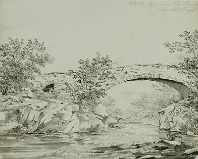 Jean Claude Nattes - 19th Century Pen and Ink Drawing, Old Bridge Over The Lune