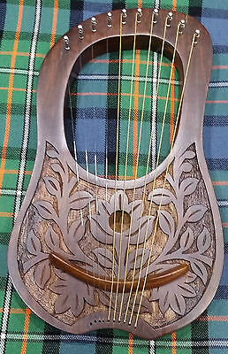 Engraved Lyre Harp She sham wood 10 Metal Strings Free Carrying Case/LYRE Harfe/