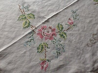 "Beautiful hand embroidered linen vintage tablecloth 50"" Sq -TC110"