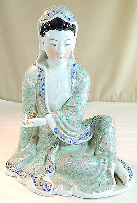 Chinese Porcelain Seated Kwanyin with Beautiful Decoration, Signed, 19th c