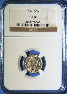 1874 Three Cent Nickel 3C Piece NGC Graded AU58 Almost Uncirculated
