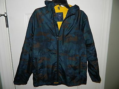 Boy's GAP Blue & Brown Camo Lightweight Jacket Size Large 12/14