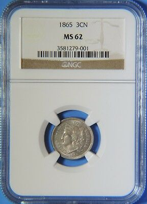 1865 Three Cent Nickel 3C Piece NGC Graded MS62 Uncirculated