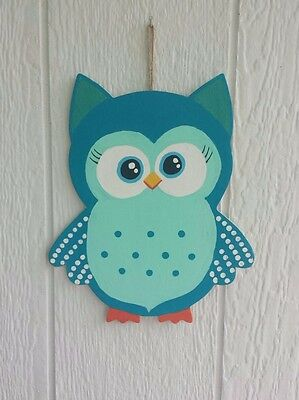 Bright Blue Owl Child or Baby Room Decor