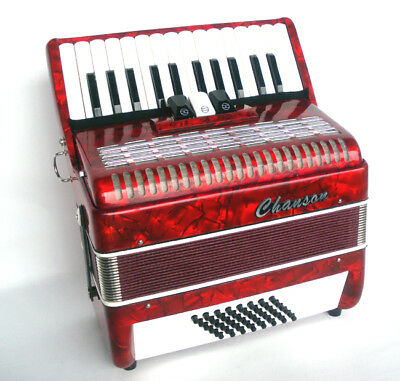 Chanson Accordion In Red, 48 Bass, 2 Sets Of Treble Reeds, 4 Bass, 3 Treble Coup