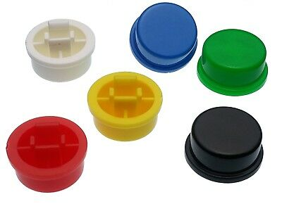 Round A24 Caps for 12mm Tactile Momentary Push Button Switches - 6 Colours