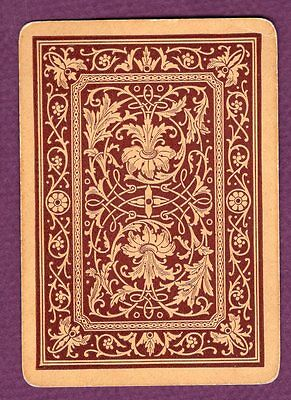 1 Single Swap Playing Card ANTIQUE WIDE #33a LOVELY DESIGN LEAVES VINTAGE OLD