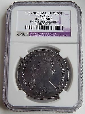1797 Draped Bust Dollar $1 AU Details NGC 9x7 SMALL LETTERS RARE!!!
