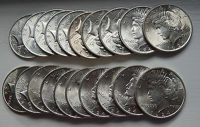 1924 Silver Peace Dollar Roll 20 Coins Original GEM BU