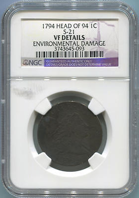 1794 Head of 94 Capped Bust Large Cent. Sheldon 21. NGC VF Details