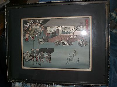 Antique Genuine Japanese Woodblock Print/people Bowing /procession/signed