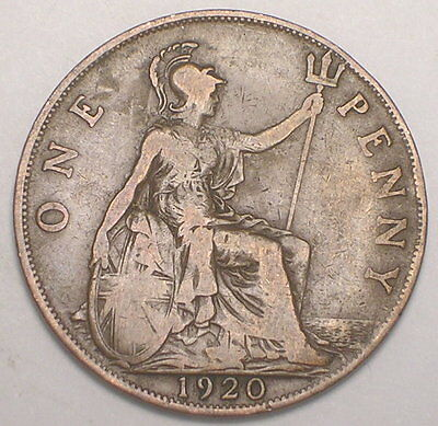 1920 UK Great Britain British One 1 Penny King George V WWI Era Coin F+