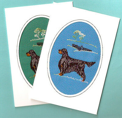 Gordon Setter Embroidered Set of 2 Note Card Notecards from the UK Blue