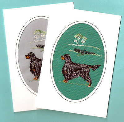 Gordon Setter Embroidered Set of 2 Note Card Notecards from the UK Grey
