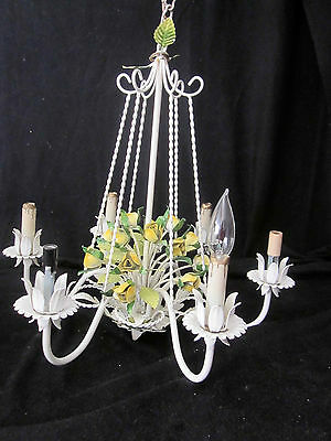 VINTAGE TOLE TOLEWARE CHANDELIER BEAUTIFUL yellow Roses FLOWERS 6 Lights