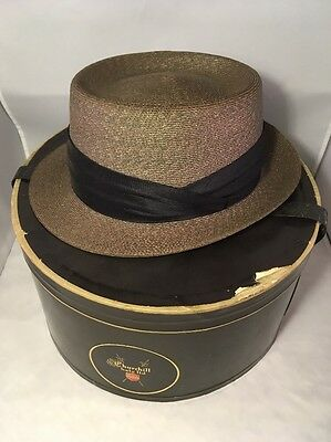 """Vintage Churchill Ltd. Fedora Banded Weave Hat 7 5/8"""" ~ Made in Italy"""