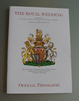 OFFICIAL ROYAL WEDDING PROGRAM Catherine Kate Middleton and Prince William