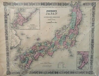 1866 A.j. Johnson's Map Japan, Nippon, Kiusiu, Sikok, Yesso, Japanese Kuriles