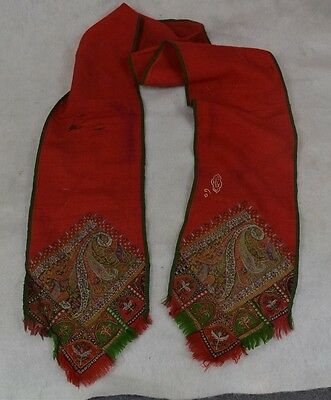 paisley scarf red green handmade embroidered pieced antique original