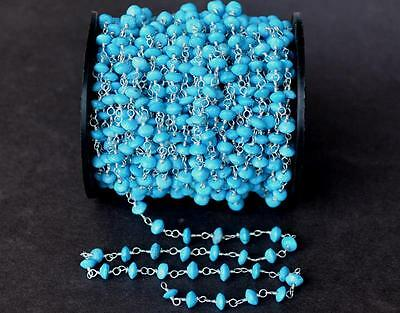 Link Chain Rosary - 1 Foot - Turquoise Gemstone Beads - Silver Plated #d6622