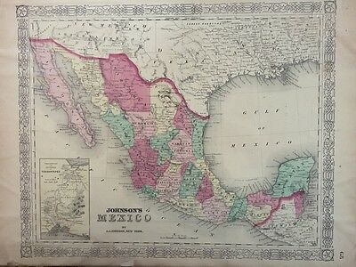 ORIGINAL 1866 A.J. JOHNSON'S HAND COLORED VINTAGE MAP OF MEXICO, 14 x 18
