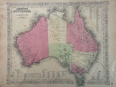 ORIGINAL 1866 A.J. JOHNSON'S HAND COLORED VINTAGE MAP OF AUSTRALIA, 14 x 18