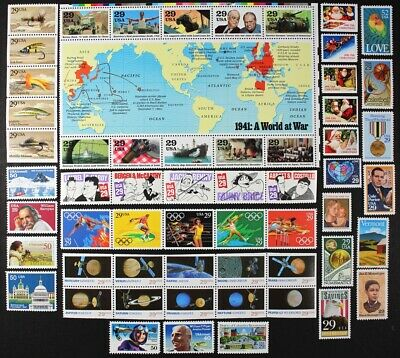 US 1991 Commemorative Year Set 57 diff. stamps incl WWII Sheet +Airmails Mint NH