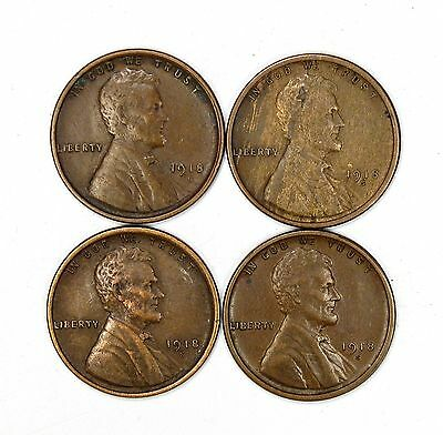 Lot of 4 1918 S 1c Lincoln Wheat Cent Pennies XF Extra Fine / XF+ #108270