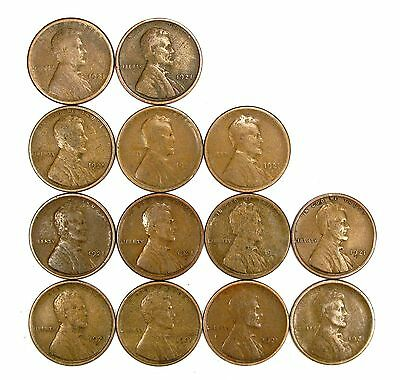 Lot of 13 1921 S 1c Lincoln Wheat Cent Pennies VG Very Good #107922