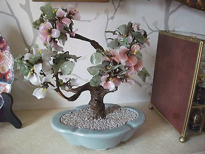 Vintage Chinese  Art Glass PINK AND WHITE PEACH BLOSSOM IN CELEDON COLOUR BOWL