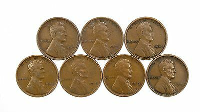 Lot of 7 1913 P 1c Lincoln Wheat Cent Pennies VF Very Fine / VF+ #107796