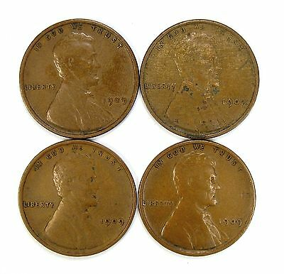 Lot of 4 1909 P VDB 1c Lincoln Wheat Cent Pennies VF Very Fine / VF+ #107780
