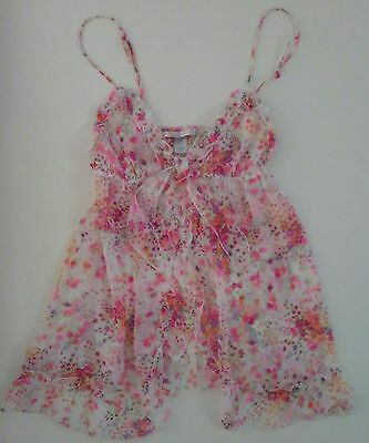 Victoria's Secret Floral Camisole Teddy Open Front Sheer Bridal Lingerie Small