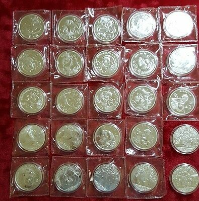 Panda Coins Chinese, Five (5) Random 1983 to 2015  1oz 10 Yuan Silver Plated