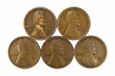 Lot of 5 1915 D 1c Lincoln Wheat Cent Pennies F Fine / F+ Fine+ #107111
