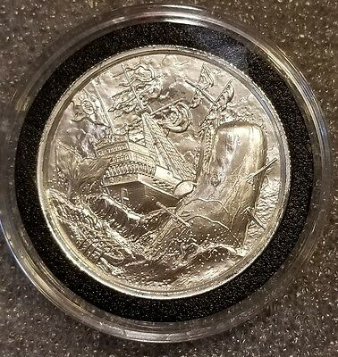 2 Oz Privateer Whaler High Relief Silver Round 999 Fine pirate ship 3d coin rare