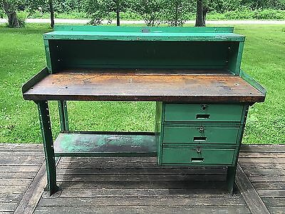 Vintage LYON Industrial Workbench, 3 Drawer Metal Desk w/ BUTCHER BLOCK Wood Top