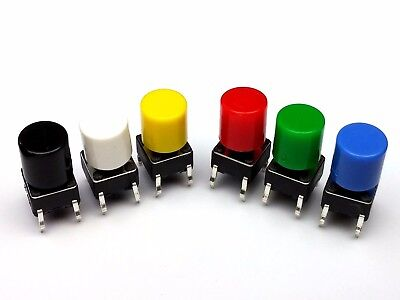 6mm WITH CAPS PCB Mounting Momentary Tactile Push Button Switches SPST
