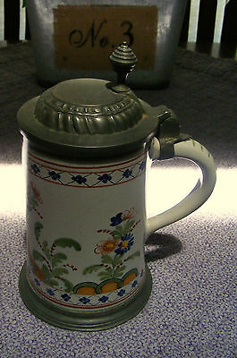 Beautiful Antique Tankard Mug Stein with Pewter Hinged Cover c1900 # 1