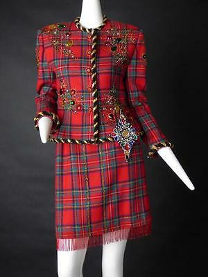 1980s Beaded Wool Plaid Suit, Size-6