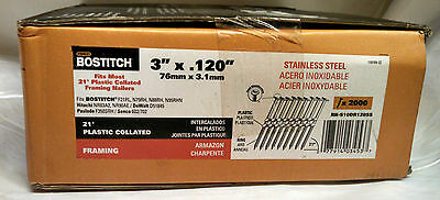 "Bostitch 3"" x .120 Nails - Plastic collated 21 deg ring STAINLESS 2 M per case"