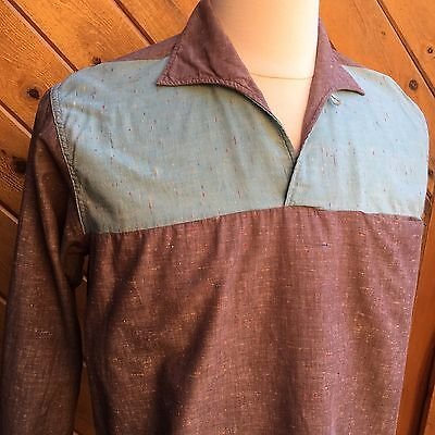 Vtg 50s Rockabilly ROCK 'N ROLL Pullover Shirt Gray & Turquoise gaucho LOOK - M