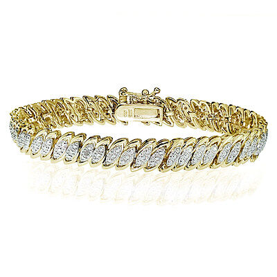 Gold Tone Natural Diamond Accent Marquise S Tennis Bracelet in Brass