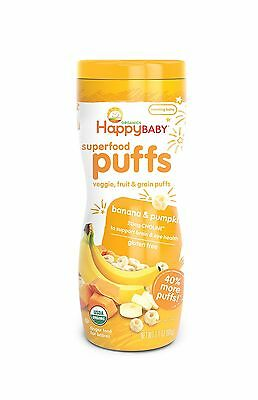 Happy Baby Organic Superfood Puffs Banana & Pumpkin 2.1 Ounce (Pack of 6)