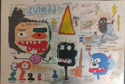 Neo Expressionist painting in the style of Jean Michal Basquiat.(Genius)