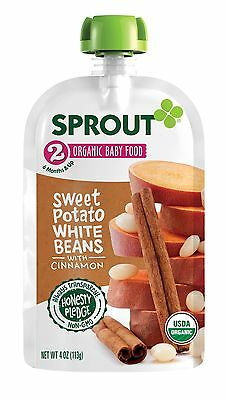 Sprout Organic Baby Food Pouches Stage 2 Sweet Potato White Beans with Cinnamon